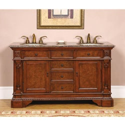 Silkroad Exclusive Fontana 60-inch Double Sink Bathroom Vanity