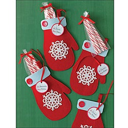 Martha Stewart Felt Mitten Treat Bag Set (Pack of 6)