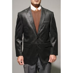 Men's Black Faux Leather Sportcoat