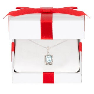 Dolce Giavonna Sterling Silver Blue Topaz and Diamond Accent Necklace with Red Bow Gift Box