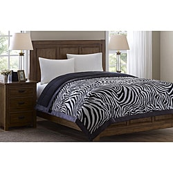 Softspun Zebra Print King-size Down Alternative Blanket
