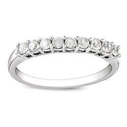 Miadora Sterling Silver 1/2ct TDW Round Diamond Wedding Band (G-H, I3)