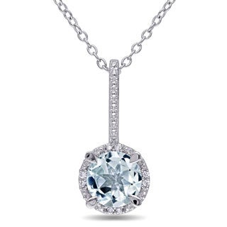 Miadora Sterling Silver Aquamarine and Diamond Necklace