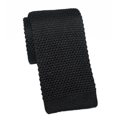 H. Luzzario & Co Men's Knit Silk Black Tie
