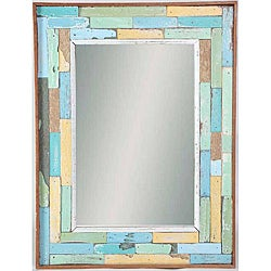 Recycled Boatwood Ratana Blocks Framed Mirror (Thailand)