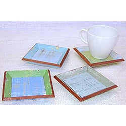 Set of 4 Recycled Wood Coastlife Drink Coasters (Thailand)