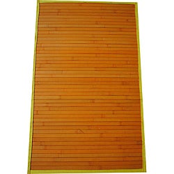 Asian Hand-woven Orange/ Yellow Bamboo Rug (1'8 x 2'8)