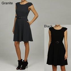 Marc New York Women's Pleated Cap Sleeve Shirtwaist Dress