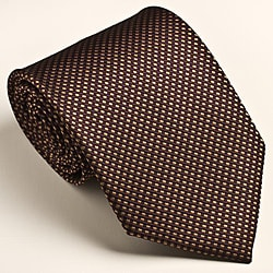 Platinum Ties Men's Patterned Brown 'Maple Runner' Tie