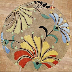 Hand-tufted Metro Flower Beige Wool Rug (8&#39; Round)