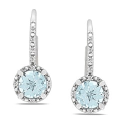 Miadora Sterling Silver Aquamarine and Diamond Accent Earrings