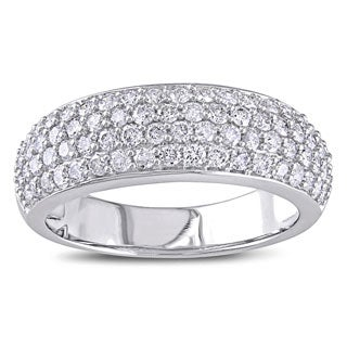 Miadora 10k White Gold 1ct TDW Pave Diamond Anniversary Ring (G-H, I2-I3)