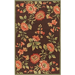 Hand-hooked Bliss Chocolate Indoor/Outdoor Floral Rug (2' x 3')