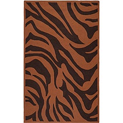 Hand-hooked Bliss Outdoor Brown Indoor/Outdoor Animal Print Rug (9' x 12')