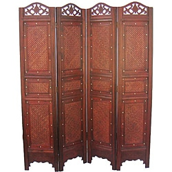 Phat Tommy Woven Bamboo 4-panel Decorative Room Divider Screen