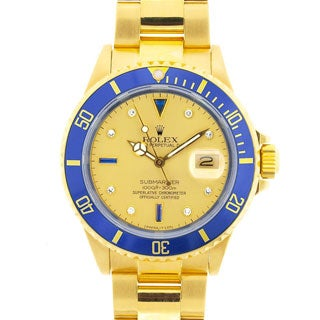 Pre-owned Rolex Men's Submariner Date 18K Gold Blue Diamond Serti Dial Watch