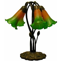 Tiffany-style 5-way Bronze Lily Amber/ GreenTable Lamp