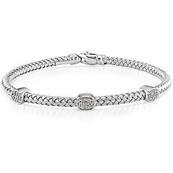 Miadora 14k White Gold 1/4ct TDW Diamond Bangle (G-H, SI1)