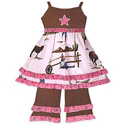 Ann Loren Girl's Cowgirl Dress and Pant Set