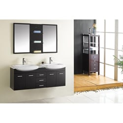 Denise Espresso Double-sink Bathroom Vanity Set