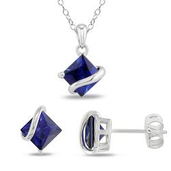Miadora Sterling Silver Created Sapphire 3-piece Jewelry Set