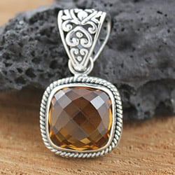 Sterling Silver and Citrine Square Pendant (Indonesia)