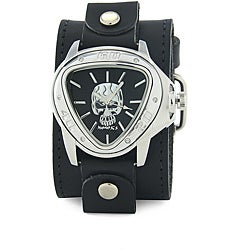 Nemesis Men's Triangle Skull Leather Strap Watch
