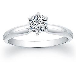 14k White Gold 1/2ct TDW Certified Diamond Solitaire Engagement Ring (G-H, VS1-VS2)