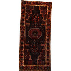 Persian Hand-knotted Hamadan Navy/ Ivory Wool Rug (5' x 10'9)