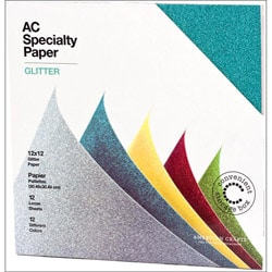 American Crafts Glitter Specialty Cardstock (Pack of 12)