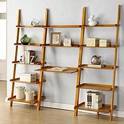 Oak Leaning Ladder 3-piece Shelf