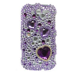 HTC myTouch 4G Purple Heart Rhinestone Case