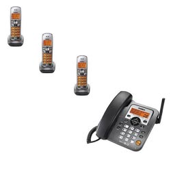 Uniden DECT 6.0 1588-3T 4 Pack Corded/Cordless Phone with Answering System