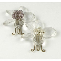 Set of 2 Brass and Glass Crystal Butterfly Paperclips (India)