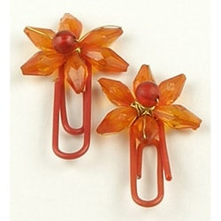 Set of 2 Brass and Glass Orange Flower Paperclips (India)