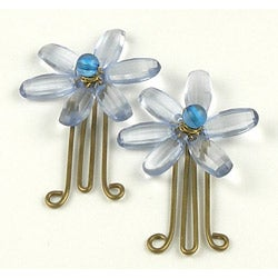 Set of 2 Brass and Pale Blue Flower Paperclips (India)