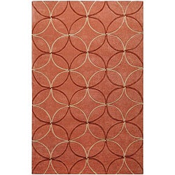 Hand-tufted Retro Chic Orange Poly-acrylic Rug (3&#39;6 x 5&#39;6)