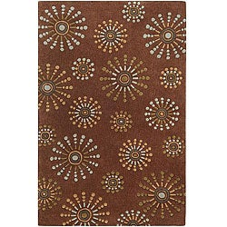 Hand-tufted Contemporary Retro Chic Green Brown Geometric Abstract Rug (3'6 x 5'6)
