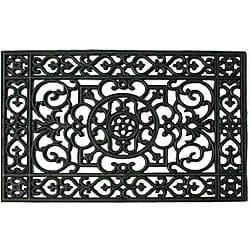 Renaissance Rectangle Square Grid Rubber Door Mat (22x34)