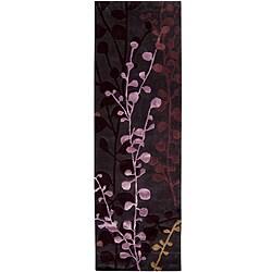 Hand-tufted Contemporary Lavish Plum Abstract Rug (2'6 x 8')