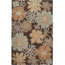 Hand-tufted Lavish Brown Floral Rug (8' x 11')