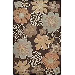 Hand-tufted Lavish Brown Floral Rug (8' x 11')