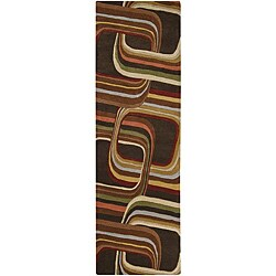 Hand-tufted Brown Contemporary Geometric Square Mayflower Wool Rug (3' x 12')