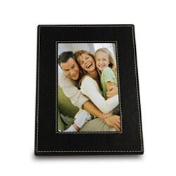 Bellagio Italia Black Faux Leather 4x6 Photo Frame