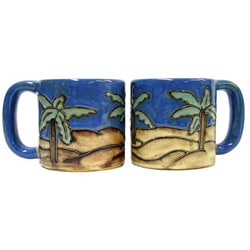 Set of 2 Mara Stoneware 16-oz Desert Palm Mugs (Mexico)