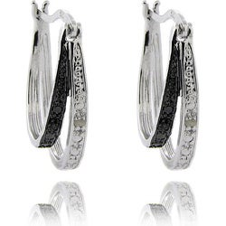 Sterling Silver Black and White Diamond Accent Double Hoop Earrings