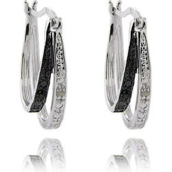 Finesque Sterling Silver Black and White Diamond Accent Double Hoop Earrings