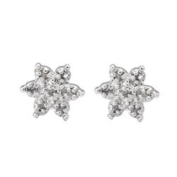 Sterling Silver 1/10ct TDW Diamond Flower Earrings (J-K, I3)