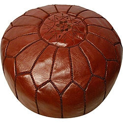 Leather Chocolate Brown Pouf Ottoman (Morocco)