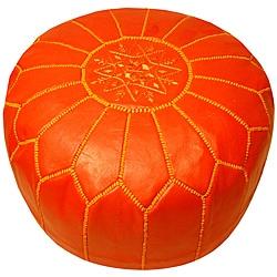 Leather Coral Pouf Ottoman (Morocco)